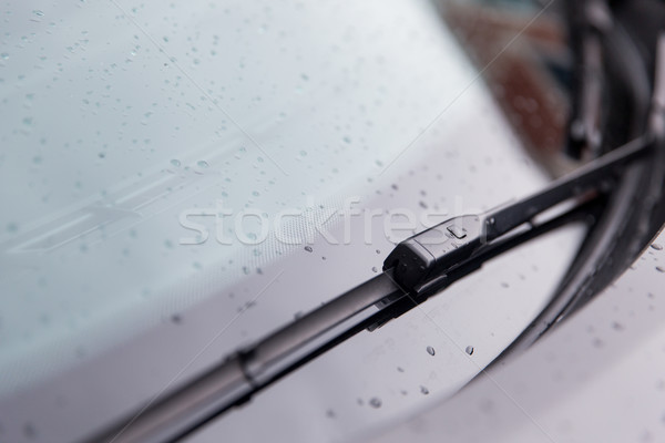 close up of windshield wiper and wet car glass Stock photo © dolgachov