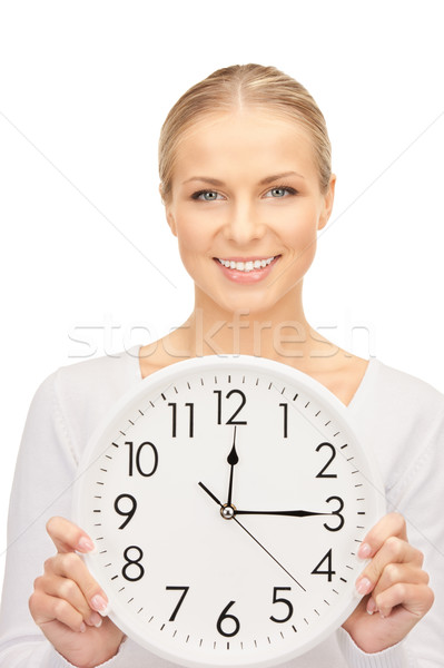 Mulher grande relógio quadro branco Foto stock © dolgachov
