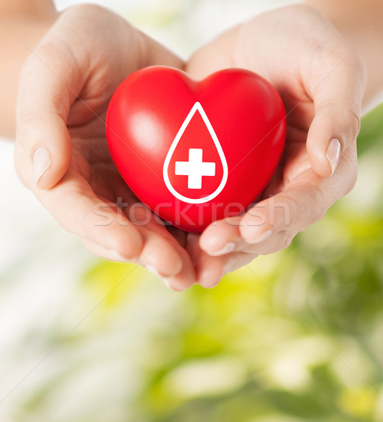 female hands holding red heart with donor sign Stock photo © dolgachov