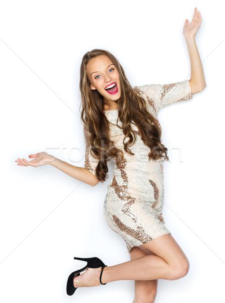 Stockfoto: Gelukkig · jonge · vrouw · tienermeisje · kostuum · mensen · stijl