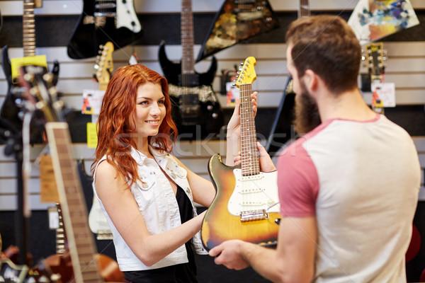 アシスタント 顧客 ギター 音楽 ストア ストックフォト © dolgachov