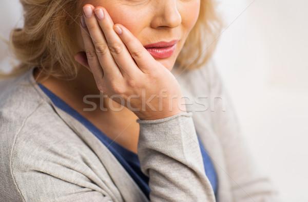 Stock fotó: Közelkép · nő · szenvedés · fogfájás · otthon · emberek