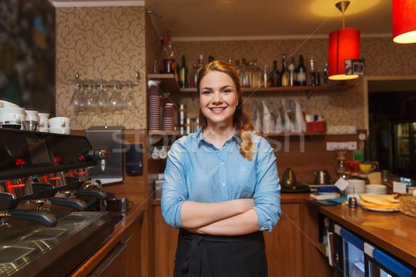 Heureux barista femme café métier profession Photo stock © dolgachov