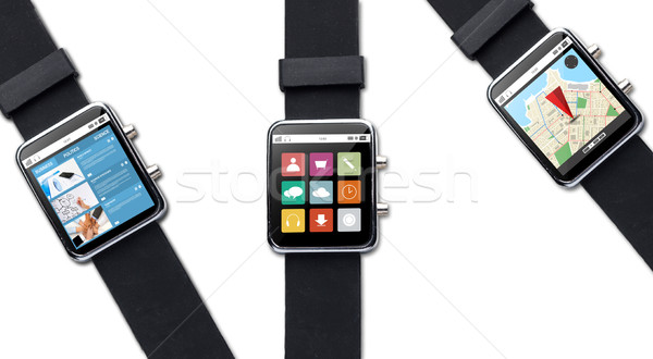 close up of smart watch with application on screen Stock photo © dolgachov