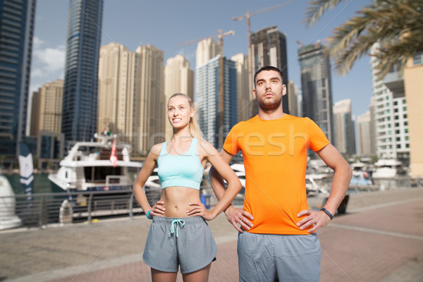 Casal Dubai cidade fitness esportes Foto stock © dolgachov