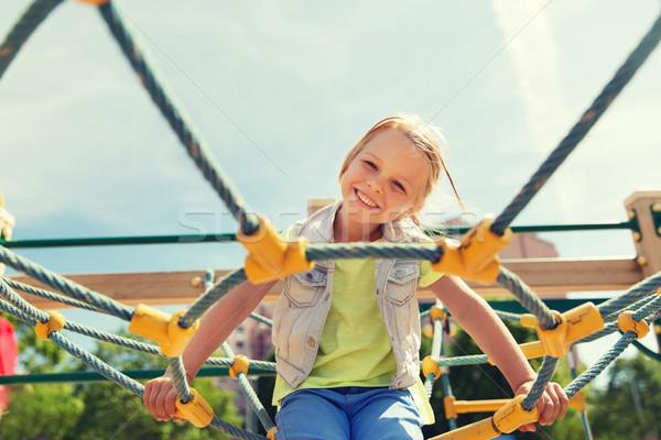 幸せ 女の子 登山 子供 遊び場 夏 ストックフォト © dolgachov