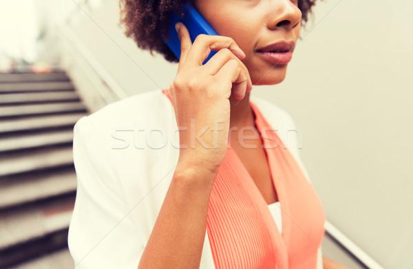 Foto stock: Africano · mulher · chamada · negócio