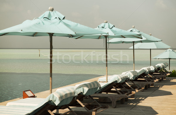 パラソル 海 モルディブ ビーチ 旅行 観光 ストックフォト © dolgachov