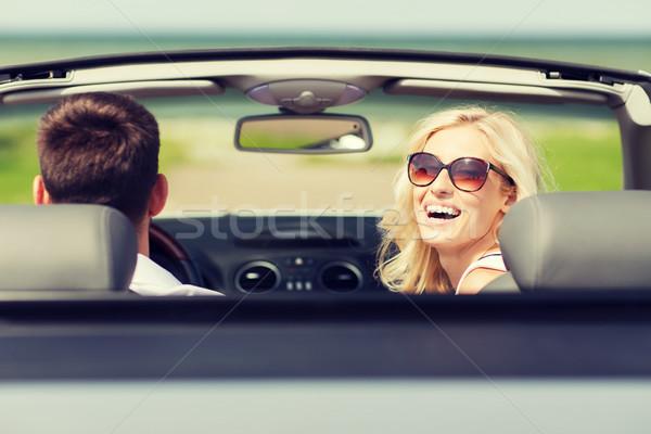 счастливым человека женщину вождения кабриолет автомобилей Сток-фото © dolgachov