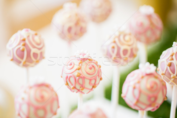 close up of cake pops or lollipops Stock photo © dolgachov