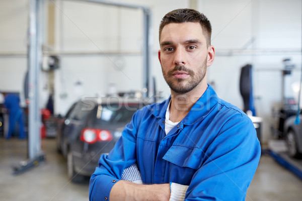 Stock photo: auto mechanic man or smith at car workshop