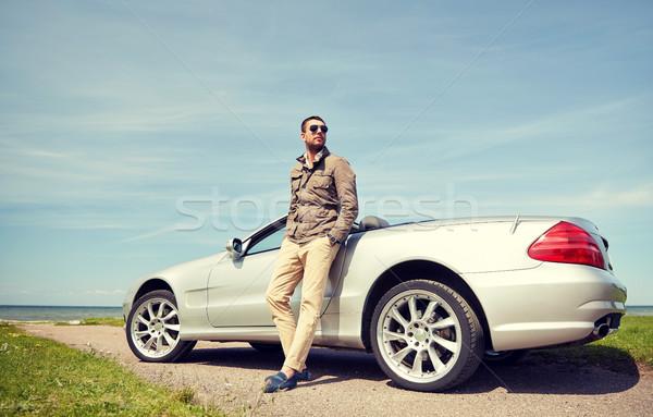 Adam kabriyole araba açık havada yol yolculuk Stok fotoğraf © dolgachov