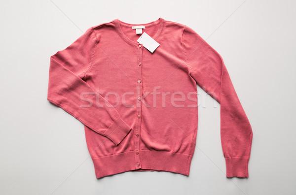Cardigan prijs tag witte kleding dragen Stockfoto © dolgachov
