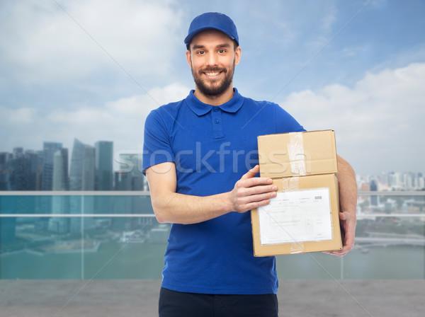 Gelukkig dozen Singapore stad levering Stockfoto © dolgachov