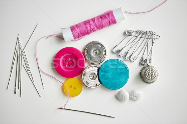 швейных Кнопки хвоя потока катушка рукоделие Сток-фото © dolgachov