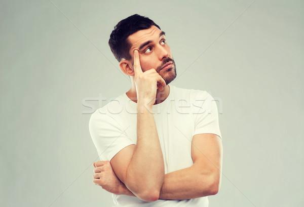 Férfi gondolkodik szürke kétség emberek üzletember Stock fotó © dolgachov
