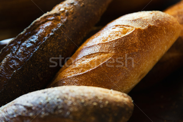 close up of bread loafs Stock photo © dolgachov