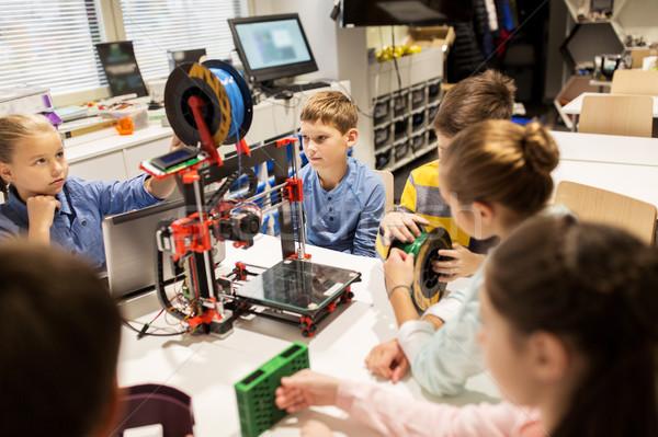 Glücklich Kinder 3D Drucker Robotik Schule Stock foto © dolgachov