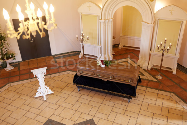 coffin with flowers and stand at funeral in church Stock photo © dolgachov