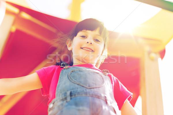 Gelukkig meisje kinderen speeltuin zomer jeugd Stockfoto © dolgachov