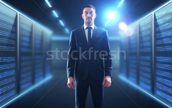 Empresário servidor quarto pessoas de negócios tecnologia terno Foto stock © dolgachov