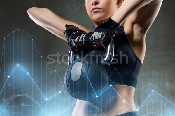 woman with kettlebell in gym Stock photo © dolgachov