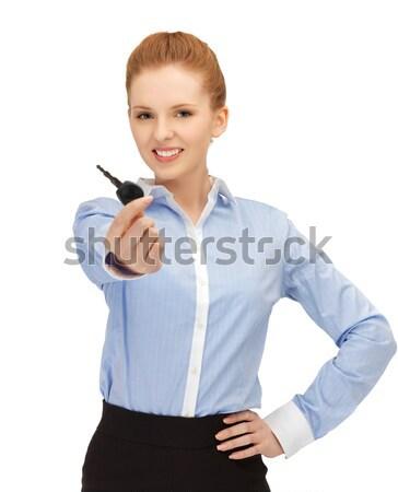 фитнес инструктор указывая пальца фотография женщину Сток-фото © dolgachov