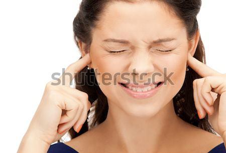Femme doigts oreilles photos stress tête Photo stock © dolgachov