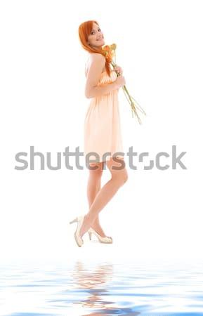 Mavi kadın iç çamaşırı melek resim beyaz kadın Stok fotoğraf © dolgachov
