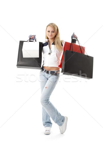 Shopping bianco soldi felice Foto d'archivio © dolgachov