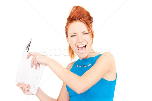 Stok fotoğraf: öfkeli · kadın · dizüstü · bilgisayar · resim · bilgisayar · çalışmak