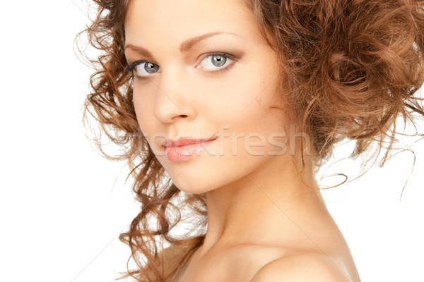 Stock fotó: Gyönyörű · nő · fényes · közelkép · portré · kép · nő