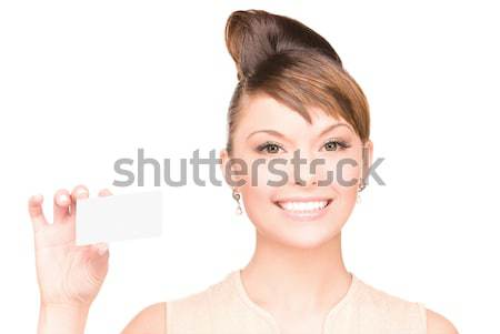 attractive businesswoman with business card Stock photo © dolgachov