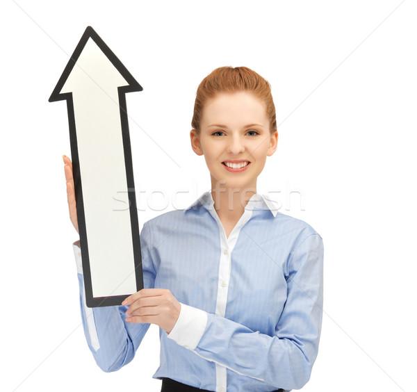 Kadın yön ok işareti resim mutlu iş Stok fotoğraf © dolgachov