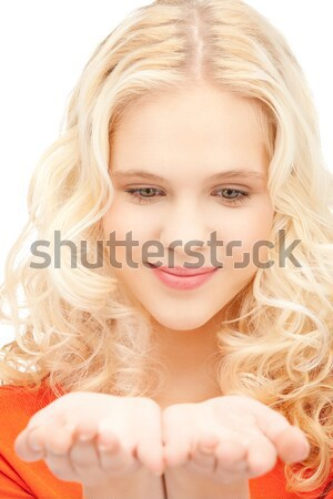 lovely blond over red #2 Stock photo © dolgachov