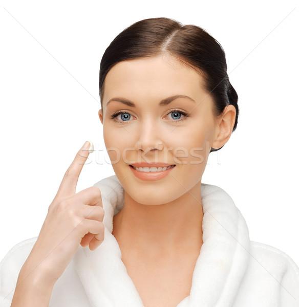 Mulher roupão de banho quadro bela mulher cara Foto stock © dolgachov
