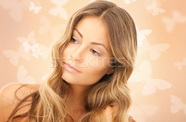 ストックフォト: 美人 · 蝶 · 明るい · 画像 · 女性 · 顔