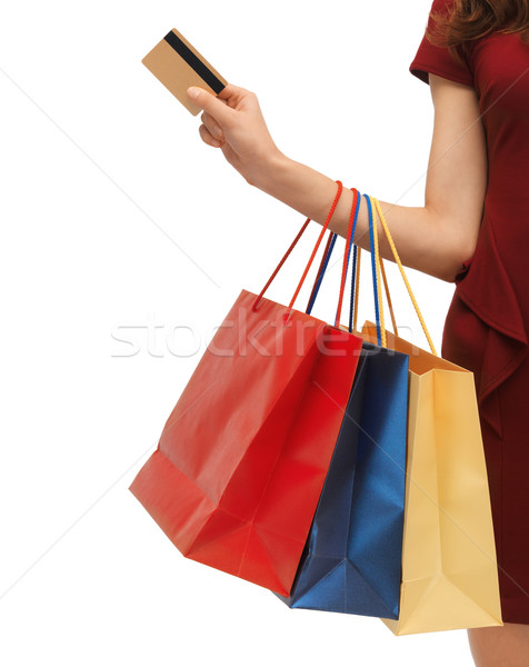 picture of woman with shopping bags Stock photo © dolgachov