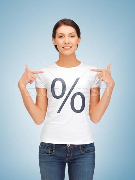 girl pointing at percent sign Stock photo © dolgachov