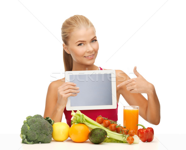 woman with fruits, vegetables and tablet pc Stock photo © dolgachov