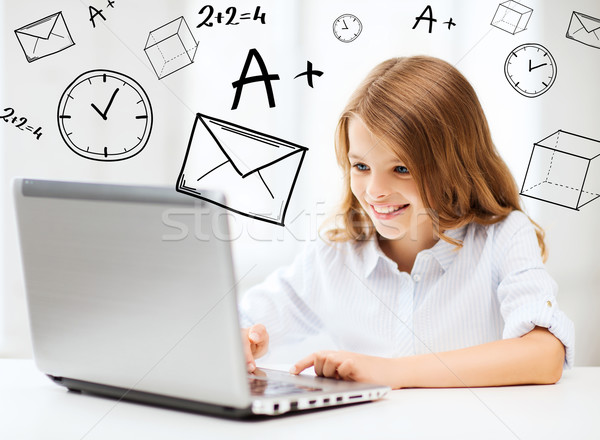 Stock photo: girl with laptop pc at school