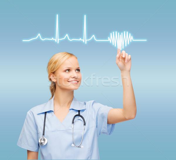 Sorridente médico enfermeira indicação cardiograma saúde Foto stock © dolgachov