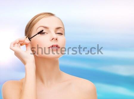 Mooie vrouw mascara cosmetica gezondheid schoonheid Blauw Stockfoto © dolgachov
