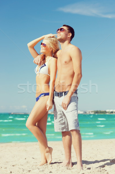 Paar strand foto gelukkig vrouw liefde Stockfoto © dolgachov