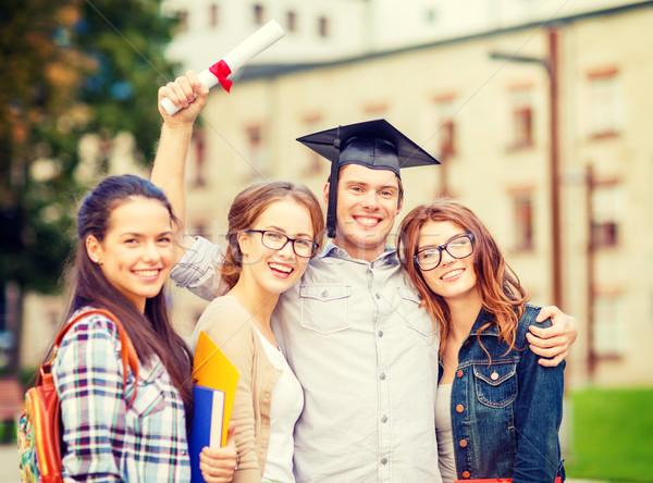 Öğrenciler gençler Dosyaları diploma eğitim kampus Stok fotoğraf © dolgachov