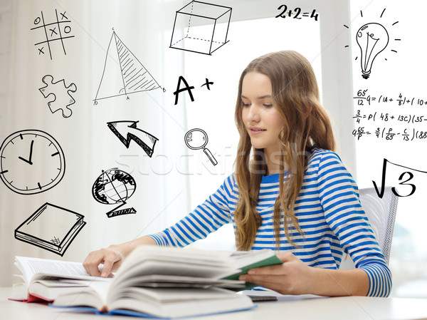 Stockfoto: Glimlachend · student · meisje · lezing · boeken · home