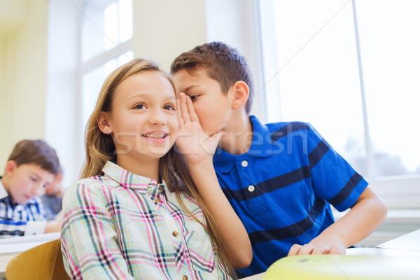 笑みを浮かべて 男子生徒 同級生 耳 教育 ストックフォト © dolgachov