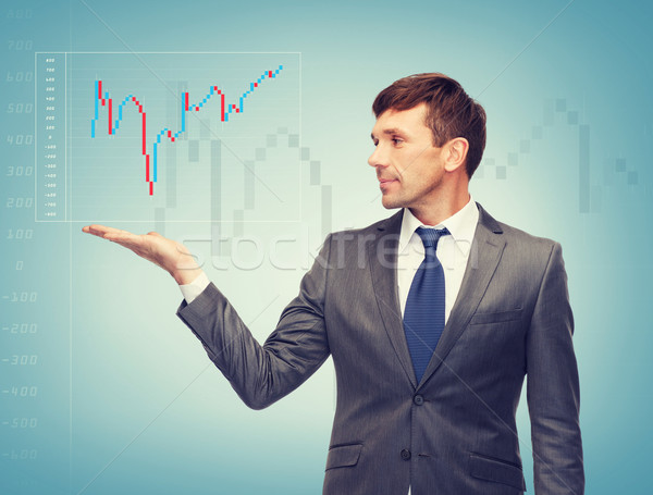 buisnessman showing forex chart Stock photo © dolgachov