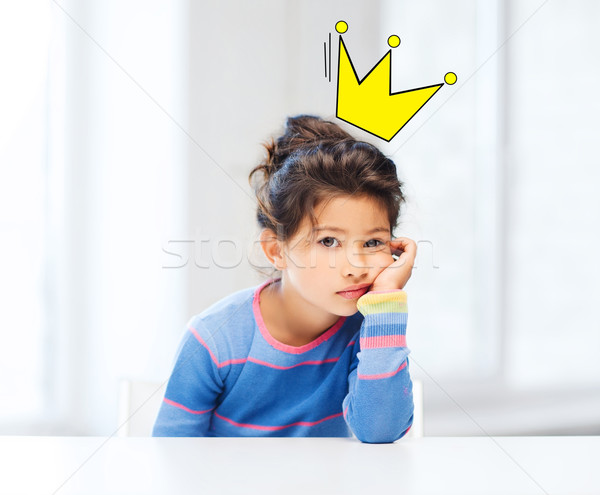 Foto stock: Entediado · little · girl · coroa · rabisco · cabeça · pessoas