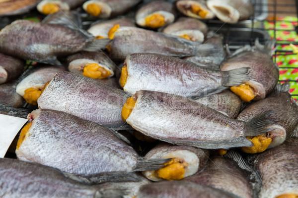 фаршированный рыбы морепродуктов азиатских улице рынке Сток-фото © dolgachov